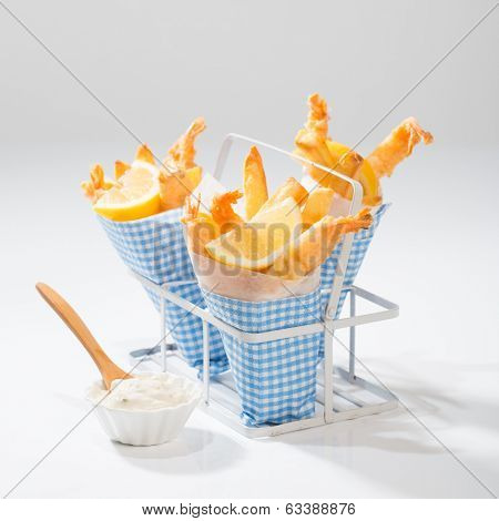 Tempura prawns and fries served with tartar sauce