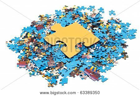Big Yellow Piece On Pile Of Puzzles