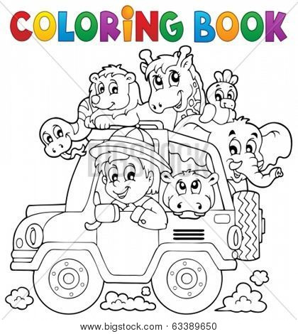 Coloring book car traveller theme 2 - eps10 vector illustration.