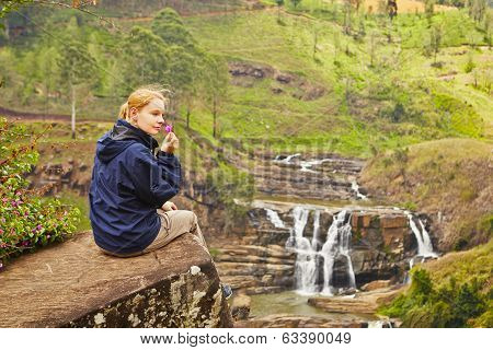 Resting Near Waterfall