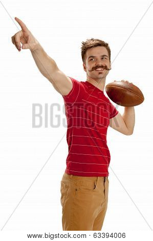 Young Casual Football Player Pointing