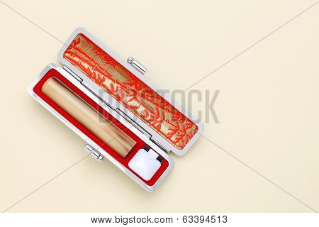Japanese hanko with case