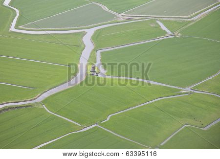 Green Landscape With Water And Windmill From Above, The Netherlands