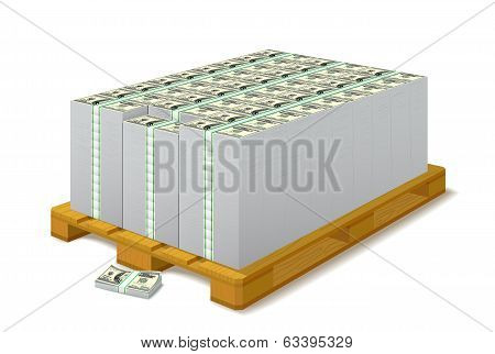 Pack Of Banknotes On A Wooden Pallet.