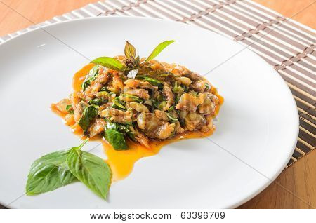 Stir Fried Clams with Roasted Chili Paste. Thai food
