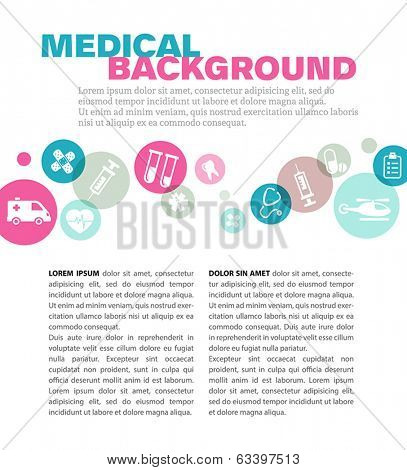Medical background with icons - can be used as a leaflet pattern.
