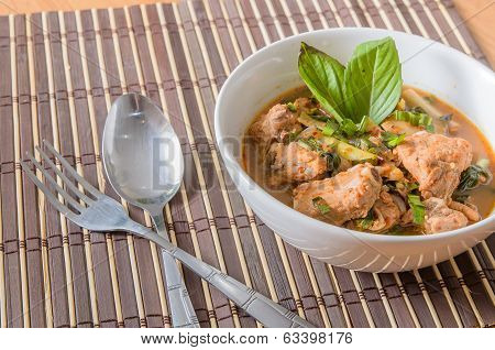 Spicy and Sour pork spare rib soup in thai style - thai food