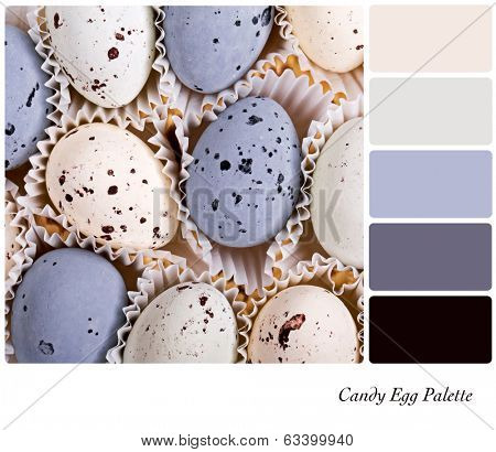 A background of candy eggs in a colour palette with complimentary colour swatches