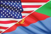 foto of eritrea  - Flags of USA and State of Eritrea blowing in the wind - JPG