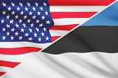 Series Of Ruffled Flags. Usa And Republic Of Estonia.