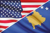 Series Of Ruffled Flags. Usa And Republic Of Kosovo.