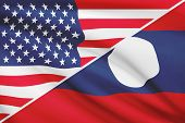Series Of Ruffled Flags. Usa And Lao People's Democratic Republic.