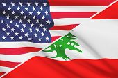 Series Of Ruffled Flags. Usa And Republic Of Lebanon.
