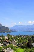 View of the Wolfgangsee lake in the Alps, Austria. Summer day
