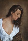 stock photo of gypsy  - painting of a gypsy girl in white blouse and shawl - JPG