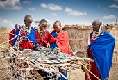 TANZANIA, AFRICA-FREBOARY 9, 2014: Masai with traditional  ornaments, review of daily life of local