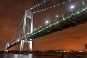 stock photo of brooklyn bridge  - Verrazano Narrows Bridge at night from Brooklyn - JPG