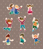 foto of flogging  - Child Jump Stickers - JPG