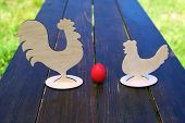 Red Egg, Chicken And Rooster