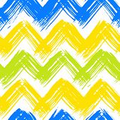 picture of chevron  - Vector seamless chevron pattern hand painted with bold brushstrokes in bright multiple colors can be used for print - JPG
