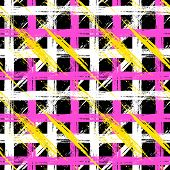 pic of cross-hatch  - Vector seamless plaid pattern with bold brushstrokes and stripes in bright multiple colors can be used for web - JPG