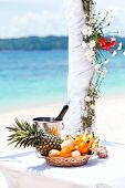 picture of wedding arch  - Beautiful wedding arch on tropical beach nobody - JPG