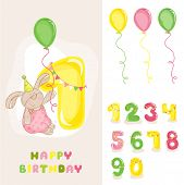 Baby Bunny Birthday Card - with Editable Numbers - invitation, congratulation -  in vector