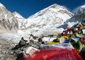 Everest Base Camp, Khumbu Glacier And Prayer Flags - Nepal