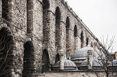 stock photo of aqueduct  - the old roman aqueduct in the city of Istanbul Turkey - JPG