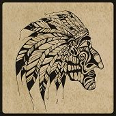 picture of indian chief  - Vector hand drawn Tattoo Native American Indian chief rough paper texture - JPG