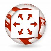 Red Abstract Icon With Paper And Arrows
