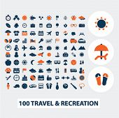 100 travel, recreation, vacation icons, signs, elements set, vector