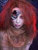 picture of woman dragon  - Portrait of young  ginger woman with artistic visage - JPG