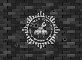 picture of panzer  - Army badge on a brick wall - JPG