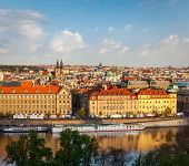 Aerial view of Prague and Vltava river on sunset, Czech Republic