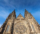 Gothic architecture - facade of St. Vitus Catherdal, Prague, Czech Republic
