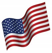 stock photo of waving american flag  - Vector Illustration of American Flag proudly waving - JPG