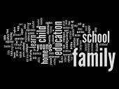 High resolution concept or conceptual family education abstract word cloud on black background