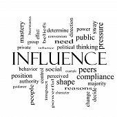 pic of peer-pressure  - Influence Word Cloud Concept in black and white with great terms such as example control beliefs and more - JPG