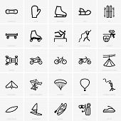 stock photo of glider  - Set of Recreation icons on grey background - JPG