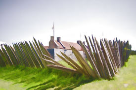 picture of ticonderoga  - Ragged fence pickets surround the colorful and historic Fort Ticonderoga - JPG
