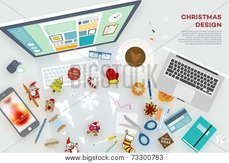 Set of Christmas Holiday Icons: Santa Claus, Snowman, Mitten, Sugar Cane, Xmas Tree, Snowflake. Mobile Phone, Computer, Laptop and other Office Elements. Blurred Christmas Ball at the Phone Wallpaper.