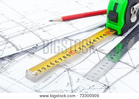 Architectural drawings and measurement tools