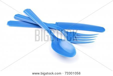 Blue disposable plastic cutlery isolated on white