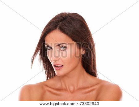 Seductive Beautiful Female Looking At Camera