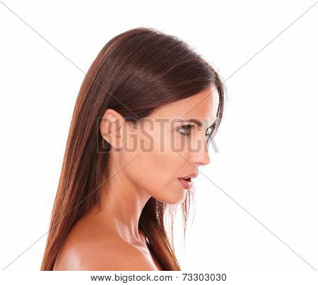 Pretty Hispanic Woman Looking To Her Left