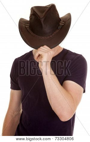 Man In Purple Shirt Cowboy Hat Face Hid