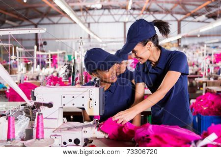 beautiful blue collar workers discussing work