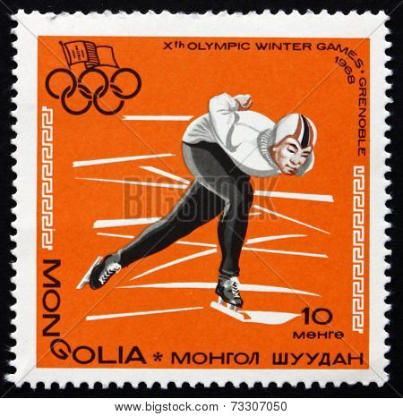 Postage Stamp Mongolia 1967 Speed Skating, Winter Olympics