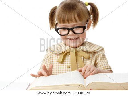 Cute Little Girl Reads Book, Back To School